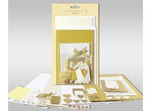 """Exlusiv Juegos de cartas para ser personalizado, """"oro"""", de 4 tarjetas, tamaño 11,5 x 21 cm y 11,5 x 17 cm"""