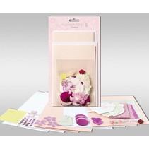 """Kartensets zum Selbstgestalten, """"Rosé"""", für 4 Karten, Grösse 11,5 x 21 cm und 11,5 x 17 cm"""
