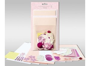 """KARTEN und Zubehör / Cards Sets of cards to be personalized, """"Rosé"""", for 4 cards, size 11.5 x 21 cm and 11.5 x 17 cm"""