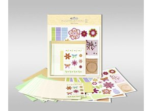 "Exlusiv Sets of cards to be personalized, ""flowers"", size 7.8 x 13.5 cm,"