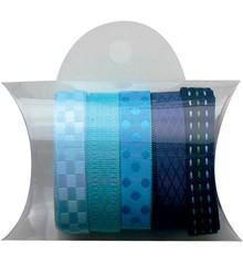DEKOBAND / RIBBONS / RUBANS ... Blå bånd 5x90cm