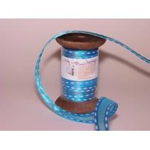 Ribbon i høj kvalitet, 15mm x 1,5 mtr, h'blau på nostalgisk spole.
