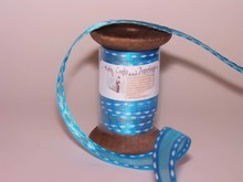 DEKOBAND / RIBBONS / RUBANS ... Ribbon i høj kvalitet, 15mm x 1,5 mtr, h'blau på nostalgisk spole.