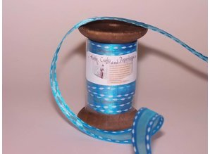 DEKOBAND / RIBBONS / RUBANS ... Ribbon in high quality, 15mm x 1.5 mtr, h'blau on nostalgic coil.