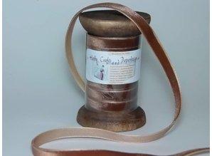 DEKOBAND / RIBBONS / RUBANS ... Ribbon i høj kvalitet, 15mm x 1,5 mtr, brun på nostalgisk spole. - Copy