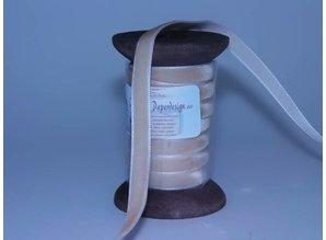 DEKOBAND / RIBBONS / RUBANS ... Ribbon i høj kvalitet, 15mm x 1,5 mtr, creme på nostalgisk spole.