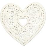 Embellishments / Verzierungen 18 filigran hjerte, 7,5 cm, hvid, 250gr kvalitet karton