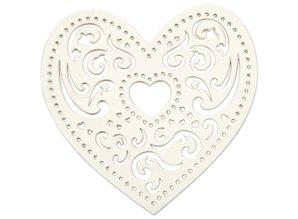 Embellishments / Verzierungen 18 cuore in filigrana, 7,5 cm, bianco, 250gr di cartone di qualità