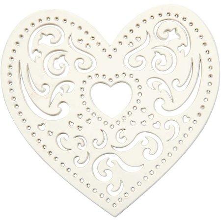 Embellishments / Verzierungen 18 corazón de filigrana, 7,5 cm, blanco, 250gr de cartón de calidad