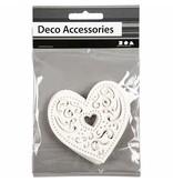 Embellishments / Verzierungen 18 filigraan hart, 7,5 cm, wit, 250gr van kwaliteit karton