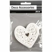 18 filigree heart, 7.5 cm, white, 250gr of quality carton