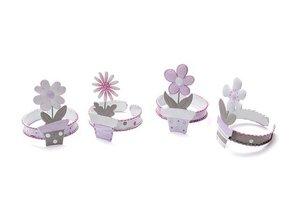 Objekten zum Dekorieren / objects for decorating Servietring blomst, lilla, 5cm, 4-sorteret, lavet af metal, i PVC kasser.