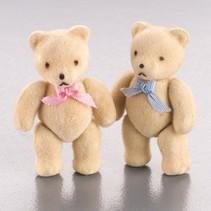 Süße Minibärchen,Flock, 5x3cm, 2 Stück, als Dekoration für Hochzeit oder andere Anlässe.