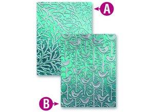Spellbinders und Rayher Prägeshablone plast M-Bossabilities med 2 motiver