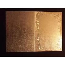 3 dobbelt kort i metal gravering, farve metallisk guld