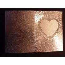 2 tarjetas dobles en grabado en metal, plata metálica de color con el corazón - Última SET!
