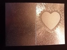 KARTEN und Zubehör / Cards 3 double cards in metal engraving, color metallic silver with heart