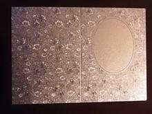 KARTEN und Zubehör / Cards 3 carte doppie di incisione in metallo, argento colore metallizzato