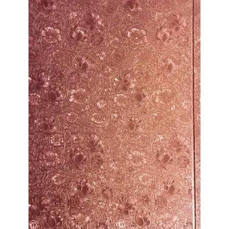 KARTEN und Zubehör / Cards 3 Doppelkarten in Metallgravur, farbe metallic rosa