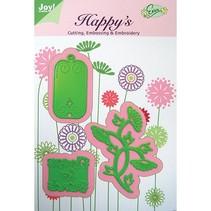 Schablone Flowers for Friends, 61,5 x 69,5 37,5x33 30x58,5 mm