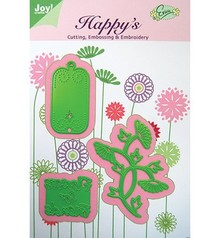 Joy!Crafts und JM Creation Skabelon Blomster til Venner, 61,5 x 69,5 37,5 x33 30x58, 5 mm