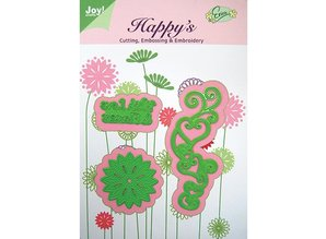 Joy!Crafts und JM Creation Joy Crafts, Template With Love & Flowers, 38,5 x 100 53,5 x24, 5 45,5 x45, 5 mm