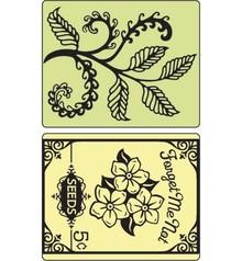 Sizzix Cartelle goffratura, Felci e Bustina di semi, 2 cartelle.