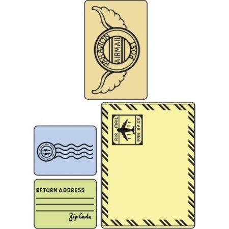 Sizzix Prägefolder, Mail Set, 4 Folder, 11,43x14,61cm - 5,72x7,30cm