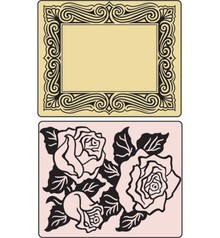 Sizzix Cartelle goffratura, Roses & Frame, 2 cartelle.