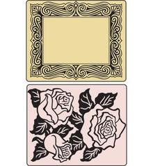 Sizzix Embossing folders, Roses & Frame, 2 Folder.