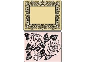 Sizzix Embossing folders, Roses & Frame, 2 folders, 11,43 x14, 61cm