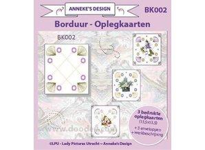 KARTEN und Zubehör / Cards Trykte Broderi kortlagene 13,5 x13, 5cm, 3 trykte kort layout, 3 kuverter