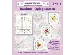 KARTEN und Zubehör / Cards Printed Embroidery Card Layers 13,5 x13, 5cm, 3 printed card layout, 3 envelopes - Copy