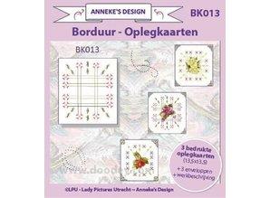 KARTEN und Zubehör / Cards Printed Embroidery Cardlayers 13,5x13,5cm, 3 printed cardlayers, 3 envelopes - Copy