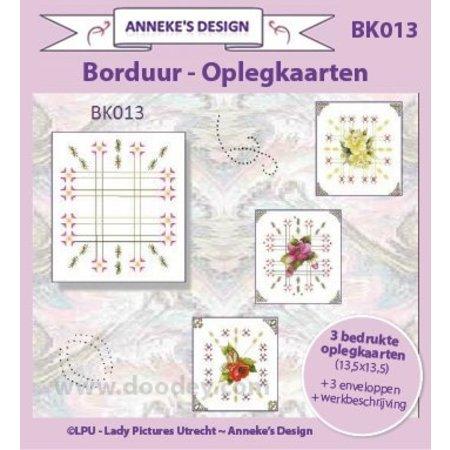 KARTEN und Zubehör / Cards Trykte Broderi kortlagene 13,5 x13, 5cm, 3 trykte kort layout, 3 konvolutter - Kopimaskiner