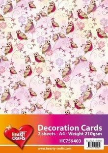 DESIGNER BLÖCKE  / DESIGNER PAPER 2 sheets, designer paper owl A4 210gr.