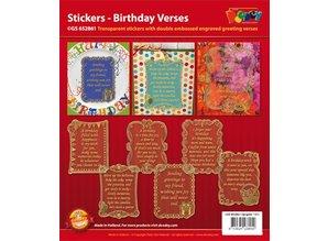 Sticker Fødselsdag scrapbog klistermærker, 20x23cm, i guld.