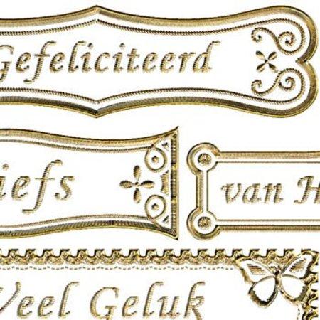 Sticker Klistermærker med nederlandske udgave, 20 x 23cm, guld