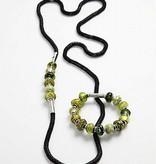 Schmuck Gestalten / Jewellery art Glaskralen harmonie 13-15 mm, zwart / wit tinten, 10 gerangschikt, gatgrootte 3-3,5 mm