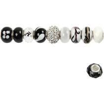 10 glasperler harmoni 13-15 mm, sort / hvide toner, 10 rangeret, hulstr 3-3,5 mm