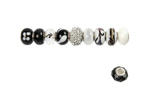 Schmuck Gestalten / Jewellery art Glass beads harmony 13-15 mm, black / white tones, 10 ranked, hole size 3-3,5 mm