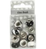 Schmuck Gestalten / Jewellery art Glasperler harmoni 13-15 mm, sort / hvide toner, 10 rangeret, hulstr 3-3,5 mm