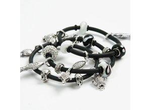 Schmuck Gestalten / Jewellery art Perle di vetro armonia 13-15 mm, nero / tonalità di bianco, N.10, dimensione del foro 3-3,5 mm