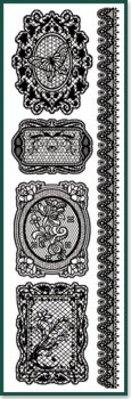 Embellishments / Verzierungen Rub On Spitzen schwarz.