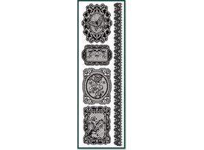 Embellishments / Verzierungen Rub On Spitzen schwarz, Format 9,5 x 30,5 cm.