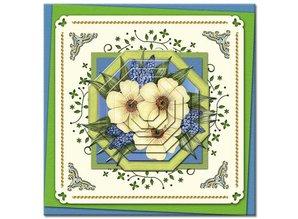 KARTEN und Zubehör / Cards Bastelbuch + Decoupage fogli + 6 layout di carte di lusso + 3D Piramide Fiori