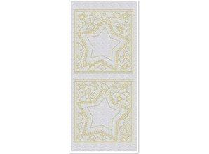 Sticker Klistermærker, Big Star vinduer, perle, guld, sølv perle, størrelse 10x23cm