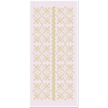 1 Stickers Glitter adornos florales, el oro brillo blanco, tamaño 10x23cm