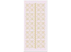 Sticker 1 adesivi scintillio ornamenti floreali, glitter oro bianco, dimensioni 10x23cm