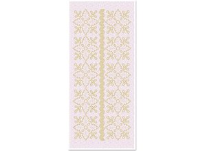Sticker 1 stickers glitter floral ornaments, gold glitter white, size 10x23cm
